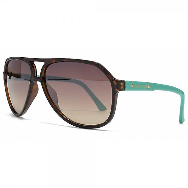Guess Studded Aviator Sunglasses In Havana Turquoise - GU7307 TO 34F