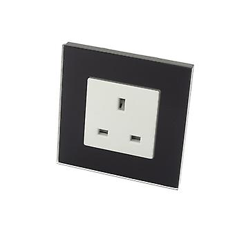 I LumoS Luxury Unswitched Black Glass Frame UK 13A Wall Plug Single Socket