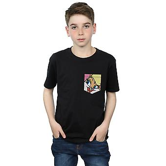 Looney Tunes Boys Lola Bunny Face Faux Pocket T-Shirt