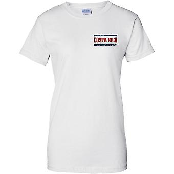 Costa Rica Grunge Country Name Flag Effect - Ladies Chest Design T-Shirt