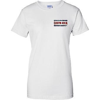 Costa Rica Grunge Land Name Flag Effect - Damen Brust Design T-Shirt