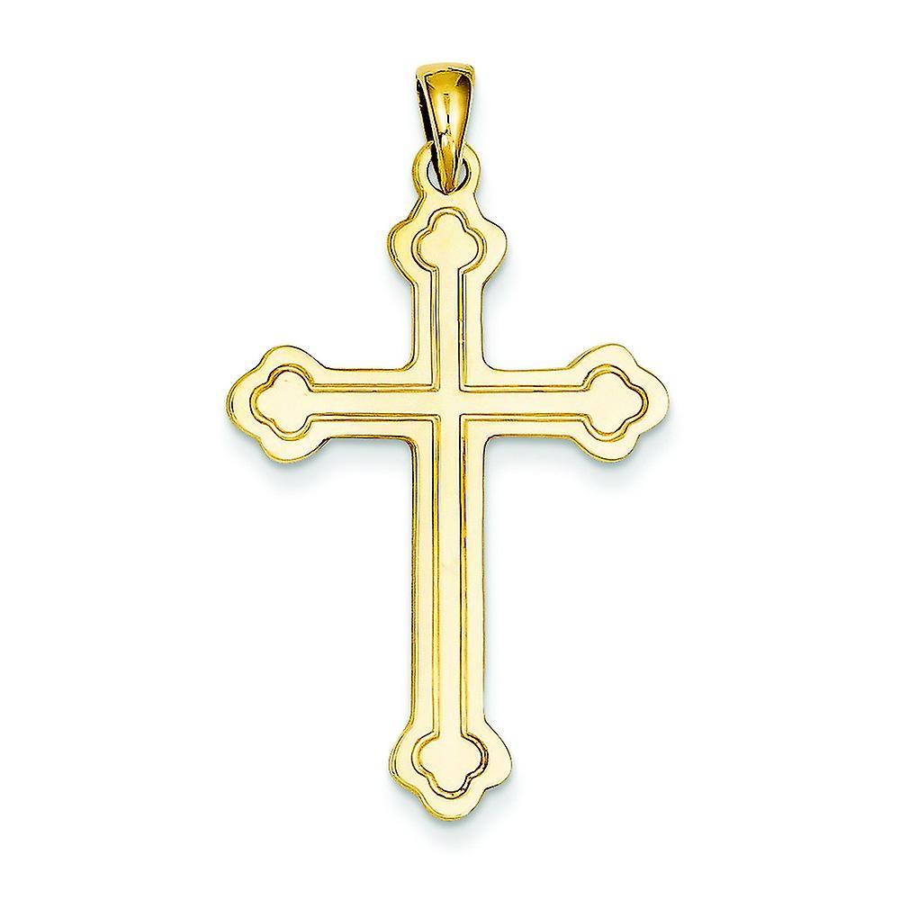 14k jaune or Solid Polished Flat back Satin Back Engravable Budded Cross Pendant - Measures 22.9x39.7mm