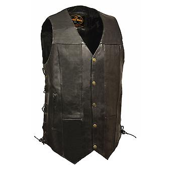 Mens Leather 10 Pocket Side Lace Vest - Tall