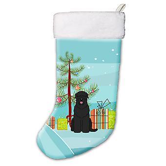 Merry Christmas Tree Black Russian Terrier Christmas Stocking