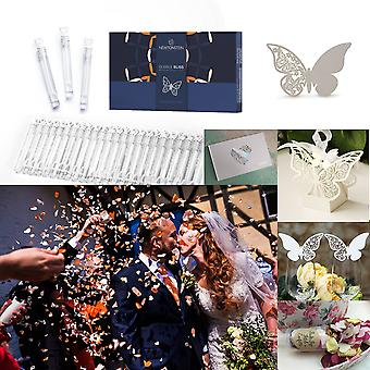 BubbleBliss MATRIMONY - 136pcs Wedding Party Set - 50pcs Wand Tube Bubble Maker 25pcs Butterfly Place Cards for Wine Glass Cup Decoration + 25 Glue Dots Heart Party Wedding Guest Book 10pcs Push Pop Confetti Rose Petal & Hearts 25pcs Butterfly Wedding Candy Boxes + Silver Ribbon Ties