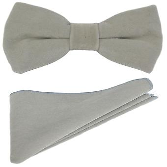 Luxury Oyster Grey Velvet Bow Tie & Pocket Square Set