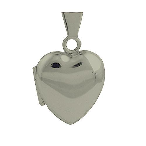 Silver 17x16mm plain heart shaped Locket