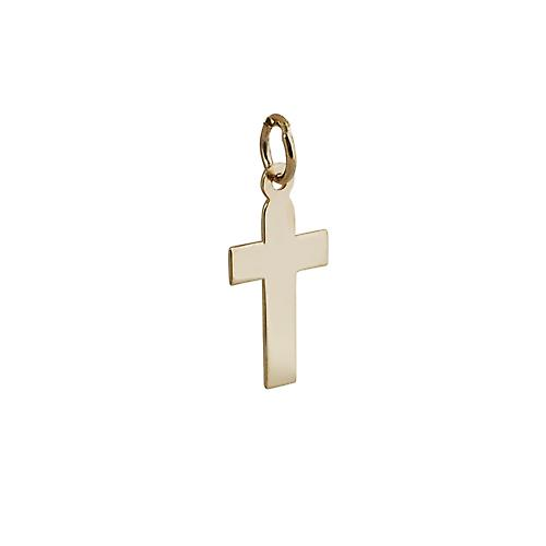 9ct Gold 15x11mm plain flat latin Cross