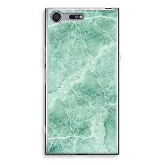 Sony Xperia XZ Premium Transparent Case (Soft) - Green marble