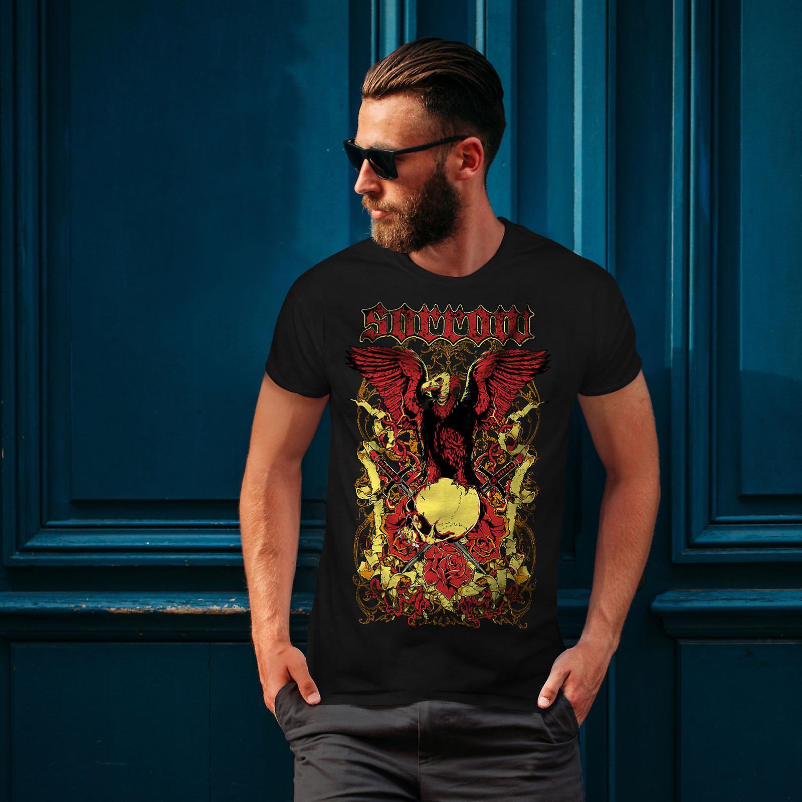Sorg Eagle Rose skalle män svart T-shirt   Wellcoda