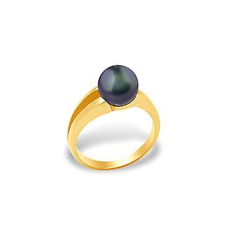 Ring Pearl of Culture of freshwater black and yellow gold 375/1000