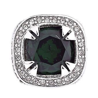 Iset ut bling hiphop luksus GLASS ring - sølv