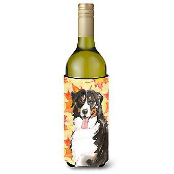 Caída hojas Bernese Mountain Dog botella de vino Beverge aislador Hugger