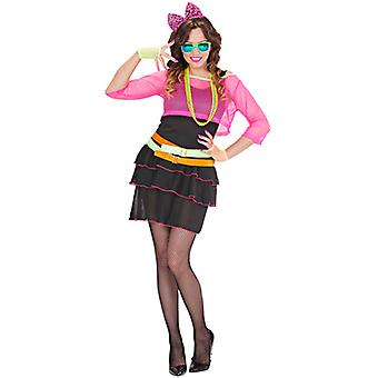 80s Groupie Girl (Dress Mesh Shirt Belt Bow Headband)