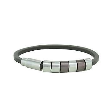 Police mens bracelet Sixpack stainless steel leather PJ. 22653BLC/02-19