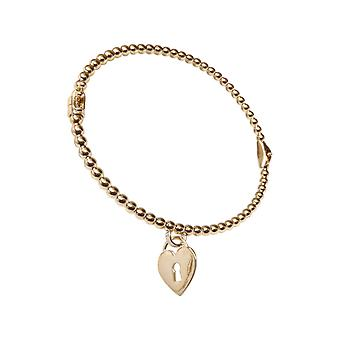 Yellow Gold Bracelet with hearts pendant