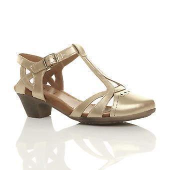 Ajvani womens mitten av block klack klipp ut t-bar smart arbete casual sommaren ankel rem comfort brogue skor sandaler