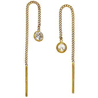 Ohrringe Durchzieh-Ohrhänger 333 Gold Gelbgold 2 Zirkonia Ohrringe zum Durchziehen