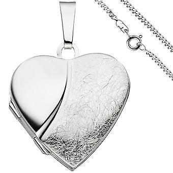 Locket heart pendant to open for 2 photos 925 Silver necklace 50 cm
