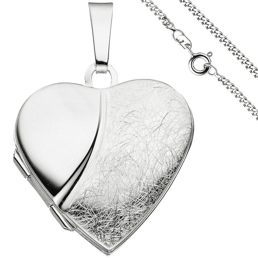 Medaillon Herz Anhänger zum Öffnen für 2 Fotos 925 argent mit Kette 50 cm