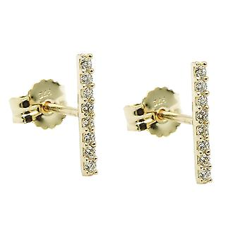 Plug 9x1mm with 8 zirconias white 9Kt GOLD