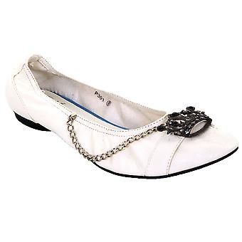 Damen Slip auf Jewelled Crown Kette weiß PU Leder Flats Schuhe Damen