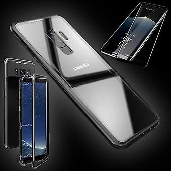 For Samsung Galaxy S9 plus magnet / metal / glass pouch case transparent / black + 0.3 4 d curved H9 hard glass