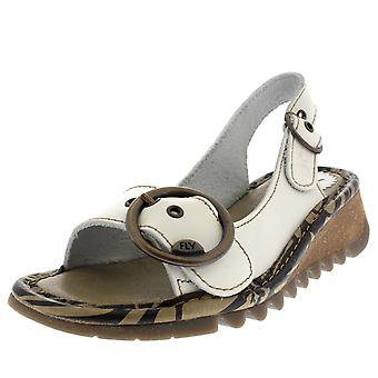 cf865631d646 Womens Fly London Tram Bridle Leather Wedge Heel Open Toe Summer Sandals