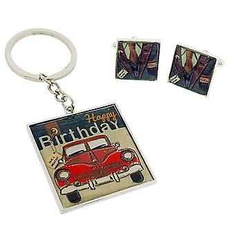 Laura Darrington Happy Birthday Silvertone Keyring & Cufflink Gift Set LD167