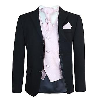 Boys Black & Pink Wedding Cravat Suit Set