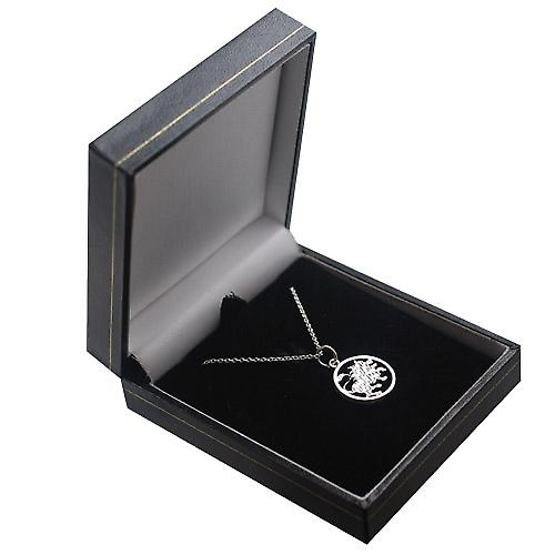 Silver 11mm pierced Leo Zodiac Pendant with a rolo Chain 14 inches Only Suitable for Children