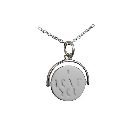 Silver 15x16mm round I Love You spinning disc Pendant with a rolo Chain 14 inches Only Suitable for Children