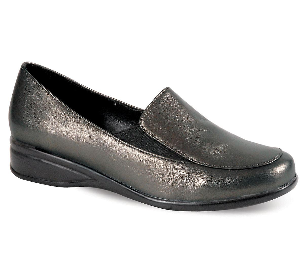 Ladies Small Wedge Black Pewter Leather Women's Comfy Wide Fitting Shoes