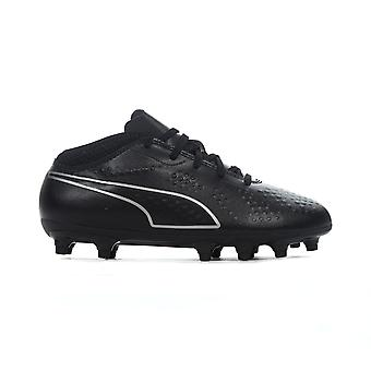 Puma One 4 FG Firm Ground Kids Football Boot Eclipse Black/Silver