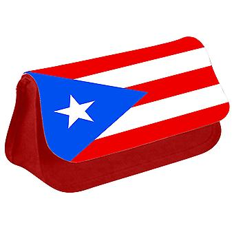 Puerto Rico Flag Printed Design Pencil Case for Stationary/Cosmetic - 0229 (Red) by i-Tronixs