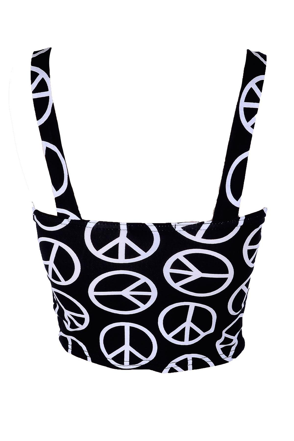 New Womens Peace Black Leopard Printed Strappy Bralet Ladies Crop Top