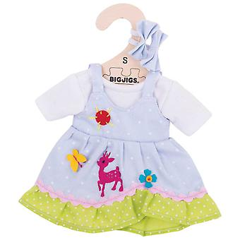 Bigjigs Toys Blue Spotted Rag Doll Dress (28c) Clothing Outfit Dress Up