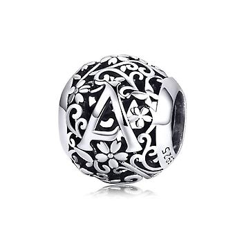 Sterling silver alphabet charm with flowers letter A