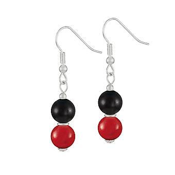 Eternal Collection Finale Red/Black Mountain Jade Silver Tone Drop Pierced Earrings