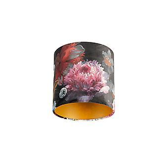 QAZQA cortina 20/20/20 terciopelo Floral con oro