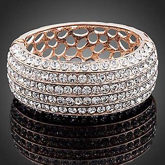 18K Rose Gold Plated 5 Rows Austrian Crystals Cuff Bracelet, 14cm