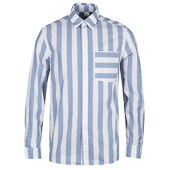 Calvin Klein Relaxed Fit Retro Stripe Blue & White Shirt