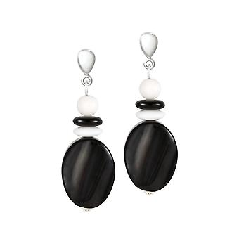 Eternal Collection Silhouette Black Agate And White Jade Semi Precious Disc Drop Clip On Earrings