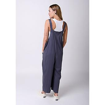 Amber loose fit jersey dungarees charcoal