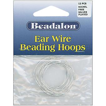 Ear Wire Beading Hoops Large 30Mm 12 Pkg Silver Plated Nickel Free 308B 108