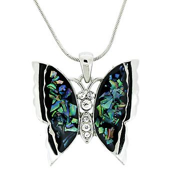 Multicoloured Pearl Butterfly Pendant Necklace Chain