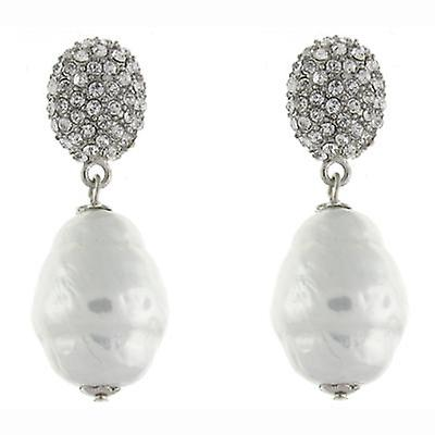 Kenneth Jay Lane Swarovski crystal Ball with Pearl Drop Earrings