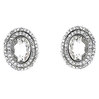 Clip On Earrings Store Classic Clear Crystal Oval Clip On Earrings