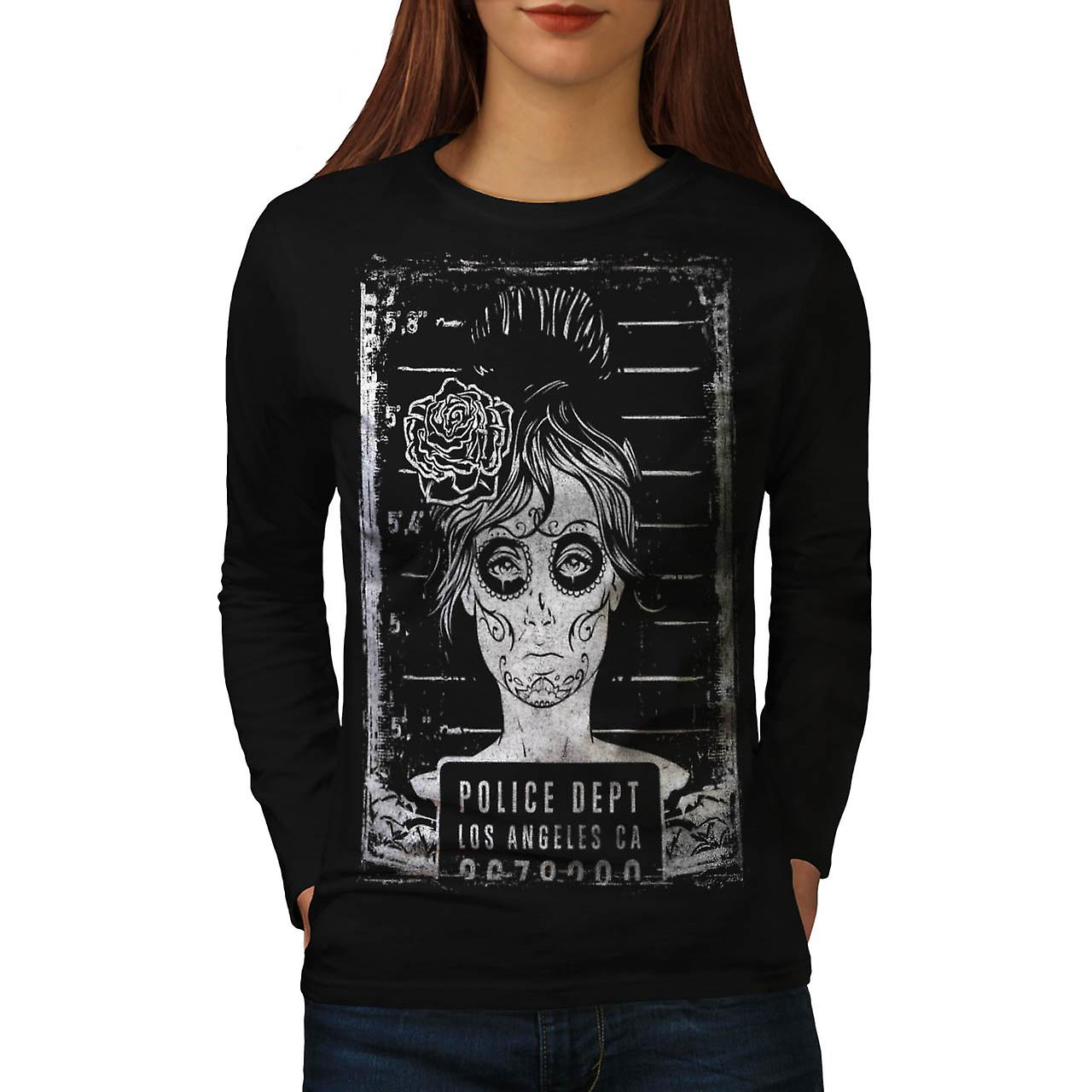 Police Department FBI LA Girls Women Black Long Sleeve T-shirt | Wellcoda