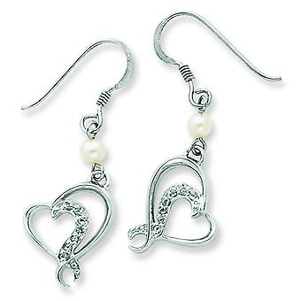 Sterling Silver Freshwater Cultured Pearl and CZ Earrings